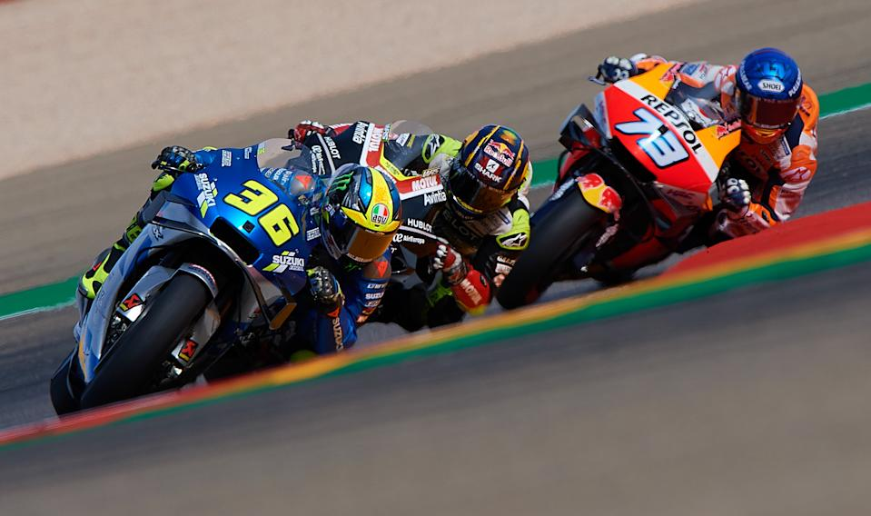 ALCANIZ, Oct. 25, 2020 -- Spain's Joan Mir L of Suzuki Ecstar leads during the MotoGP race of Teruel Grand Prix in Alcaniz, Spain, Oct. 25, 2020. (Photo by Pablo Morano/Xinhua via Getty) (Xinhua/Meng Dingbo via Getty Images)