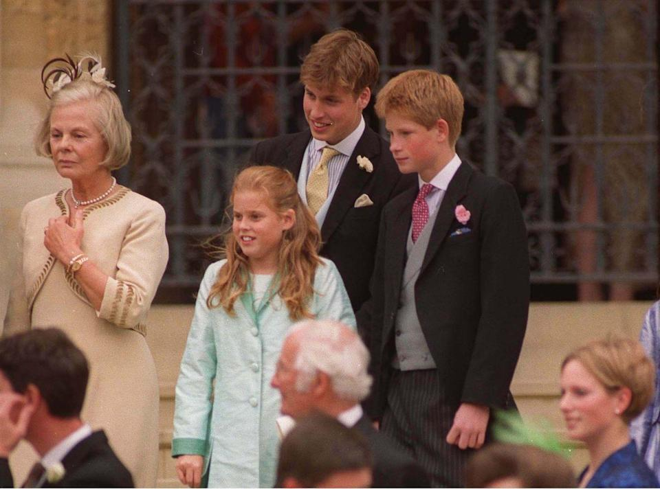 <p>Beatrice with cousins William and Harry at the wedding of their uncle Prince Edward to Sophie, Countess of Wessex. </p>