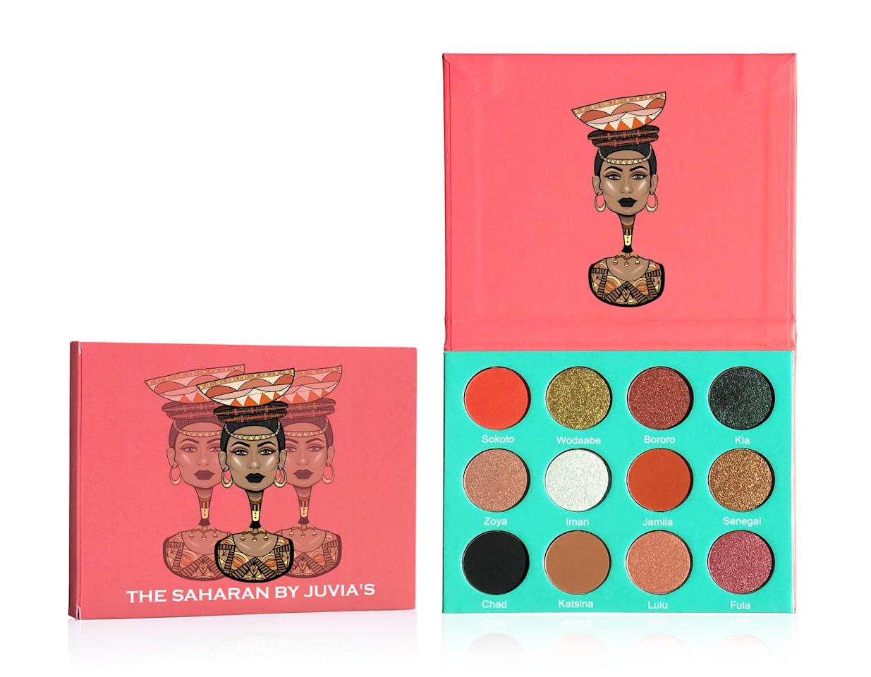 "<p>Created in celebration of the many tribes and cultures in Africa, the brand's founder ChiChi Eburu made it a point to deliver super-pigmented eyeshadow for darker skin tones because she was so sick of trying to find ones that existed. The Saharan eye palette ($28, <a rel=""nofollow"" href=""https://www.juviasplace.com/products/the-saharan-palette?mbid=synd_yahoobeauty&variant=34186636230"">juviasplace.com</a>) features 12 opaque shades that, in one swipe, deliver maximum color payoff.</p>"