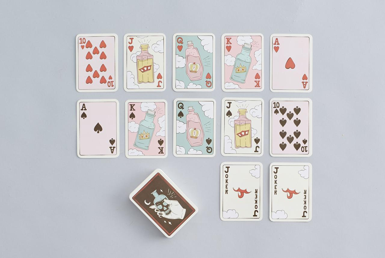 """Gin rummy—but with actually drinks on the cards, please.<br> <a rel=""""nofollow"""" href=""""https://society6.com/product/playing-cards-poison-bottle-deck"""">SHOP NOW</a>: Poison Bottle Deck by SagePizza Playing Cards, $15"""