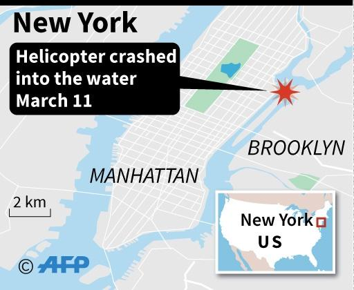 Map locating a helicopter crash in New York's East River (AFP Photo/AFP)