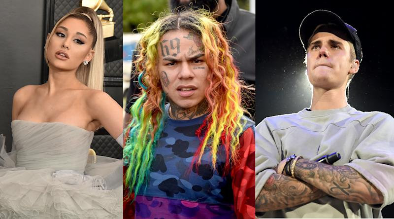 Ariana Grande, Tekashi 6ix9ine, Justin Bieber (Photos: Getty Images)