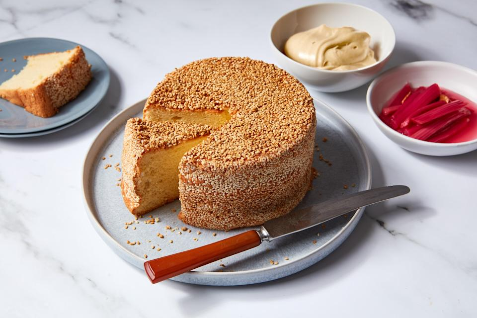 """Baking this easy, mile-high cake will make you feel like a pastry pro. And it's a great way to use some <a href=""""https://www.epicurious.com/ingredients/rhubarb-sweet-savory-recipes-gallery?mbid=synd_yahoo_rss"""" rel=""""nofollow noopener"""" target=""""_blank"""" data-ylk=""""slk:rhubarb"""" class=""""link rapid-noclick-resp"""">rhubarb</a> before the season passes. <a href=""""https://www.epicurious.com/recipes/food/views/tahini-chiffon-cake-rhubarb-jen-yee?mbid=synd_yahoo_rss"""" rel=""""nofollow noopener"""" target=""""_blank"""" data-ylk=""""slk:See recipe."""" class=""""link rapid-noclick-resp"""">See recipe.</a>"""