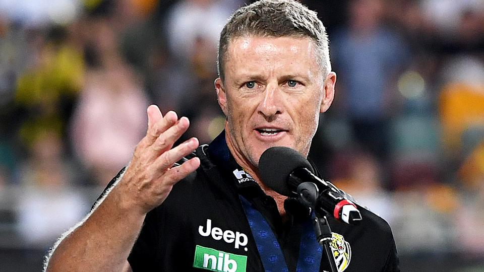 Damien Hardwick's relationship with a member of club administration staff has gone pub lic, following the reveal of his and wife Danielle's split in December. (Photo by Bradley Kanaris/AFL Photos/via Getty Images)