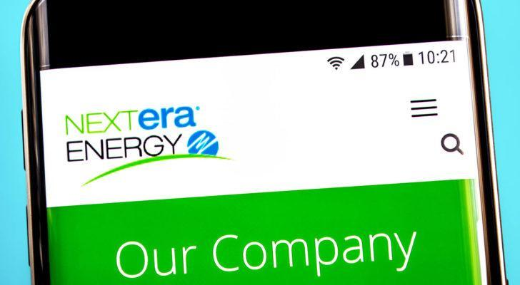 Nextra Energy (NEE) website on a mobile phone screen