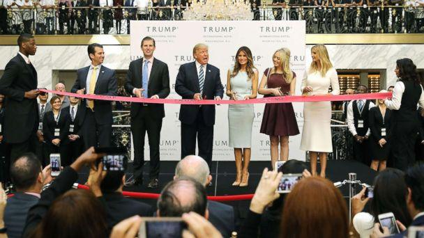 PHOTO: Republican presidential nominee Donald Trump and his family (L-R) son Donald Trump Jr, son Eric Trummp, wife Melania Trump and daughters Tiffany Trump and Ivanka Trump at the new Trump International Hotel, Oct. 26, 2016, in Washington, DC. (Chip Somodevilla/Getty Images, FILE)