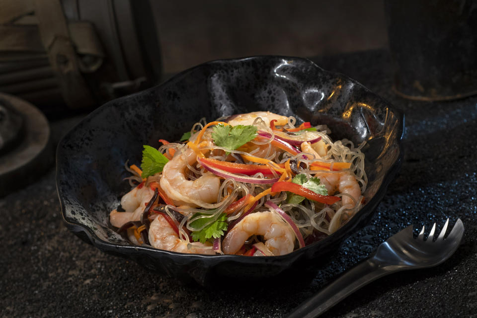 The Yobshrimp Noodle Salad, found at Docking Bay 7 Food and Cargo, is a marinated noodle salad with chilled shrimp and veggies. (Photo: David Roark/Disney Parks)