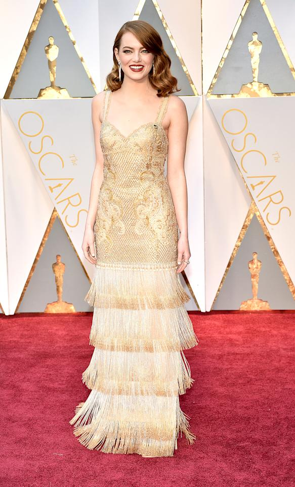 "<p>Emma Stone attends the 89th Annual Academy Awards at Hollywood & Highland Center on February 26, 2017 in Hollywood, California. (Photo by Kevin Mazur/Getty Images)<br /><br /><a rel=""nofollow"" href=""https://www.yahoo.com/style/oscars-2017-vote-for-the-best-and-worst-dressed-225105125.html"">Go here to vote for best and worst dressed.</a> </p>"