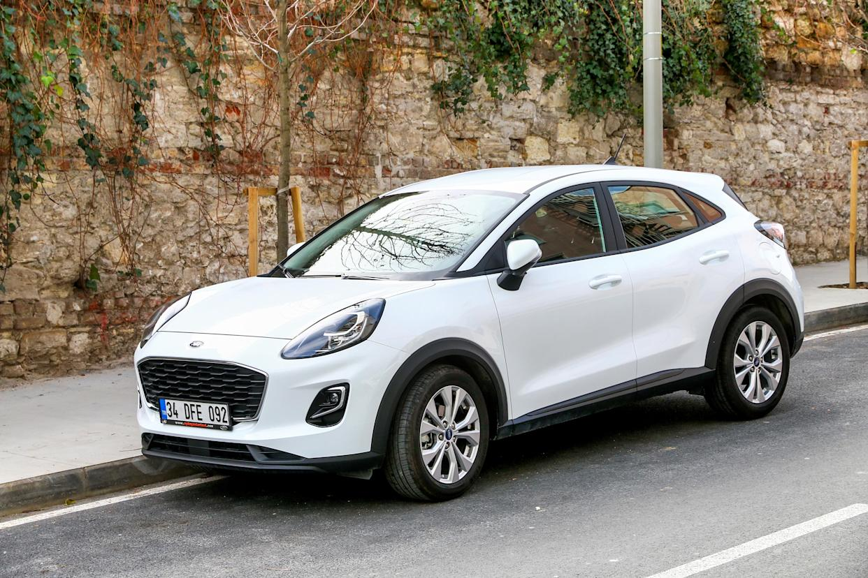 Istanbul, Turkey - February 11, 2021: Subcompact crossover SUV Ford Puma in the city street.
