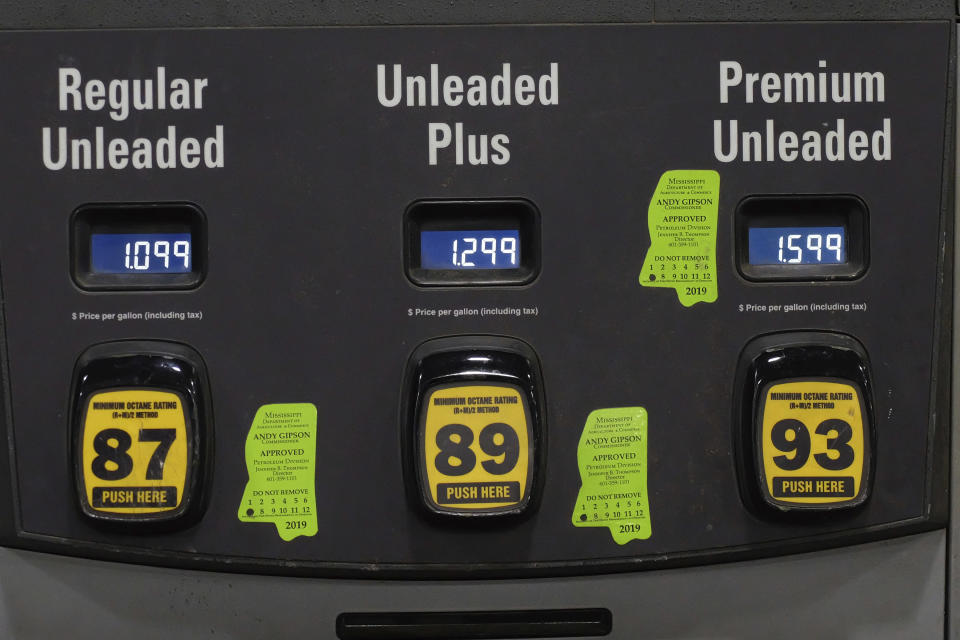 FILE - In this April 26, 2020 file photo, gas prices are shown on a gas pump in Hattiesburg, Miss. In 2020, the coronavirus pandemic created winners and losers in the business world. The oil industry was pummeled after travel was halted in efforts to contain the coronavirus, sending demand for jet fuel and gasoline plummeting.(AP Photo/Rogelio V. Solis, File)