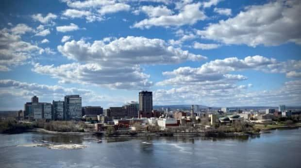 Gatineau, Que., as seen across the Ottawa River from Parliament Hill on April 2021. The Outaouais region had nearly 90 COVID-19 outbreaks as of Wednesday, according to health officials. (Christian patry/Radio-Canada - image credit)