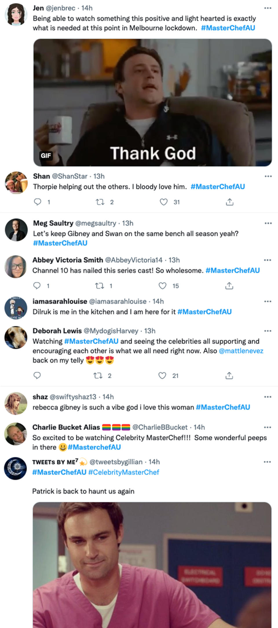 Viewers' tweets about episode one of Celebrity MasterChef Australia 2021. Photo: Channel 10.