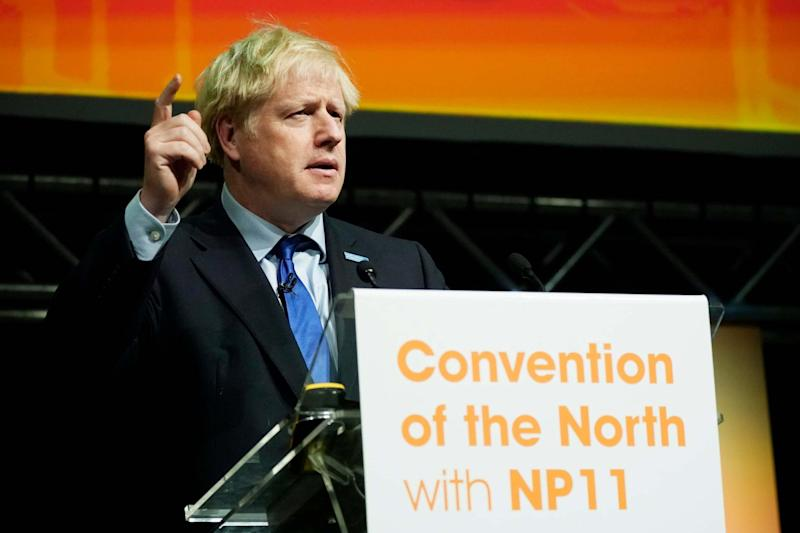 Heckled: Boris Johnson during his speech in Rotherham: Getty Images
