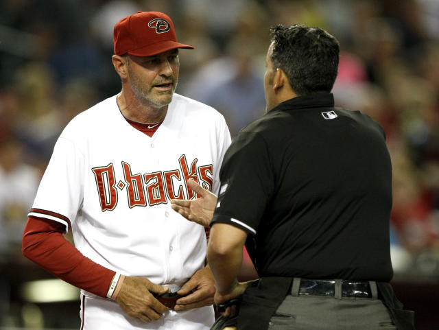 Arizona Diamondbacks manager Kirk Gibson talks with home plate umpire Manny Gonzalez in the fifth inning during a baseball game against the Colorado Rockies, Friday, Aug. 8, 2014, in Phoenix. (AP Photo/Rick Scuteri)
