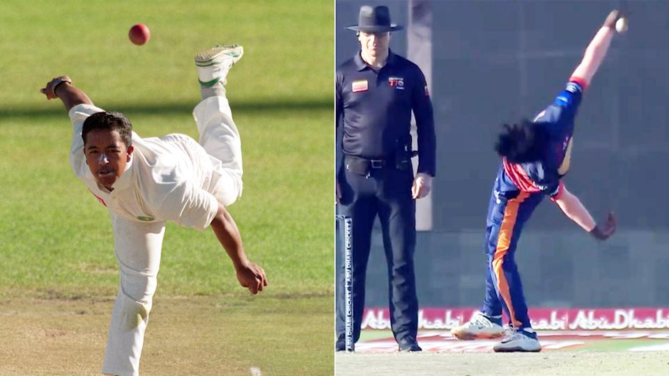 Kevin Koththigoda is pictured on the right alongside a shot of former Proteas spinner Paul Adams on the left.
