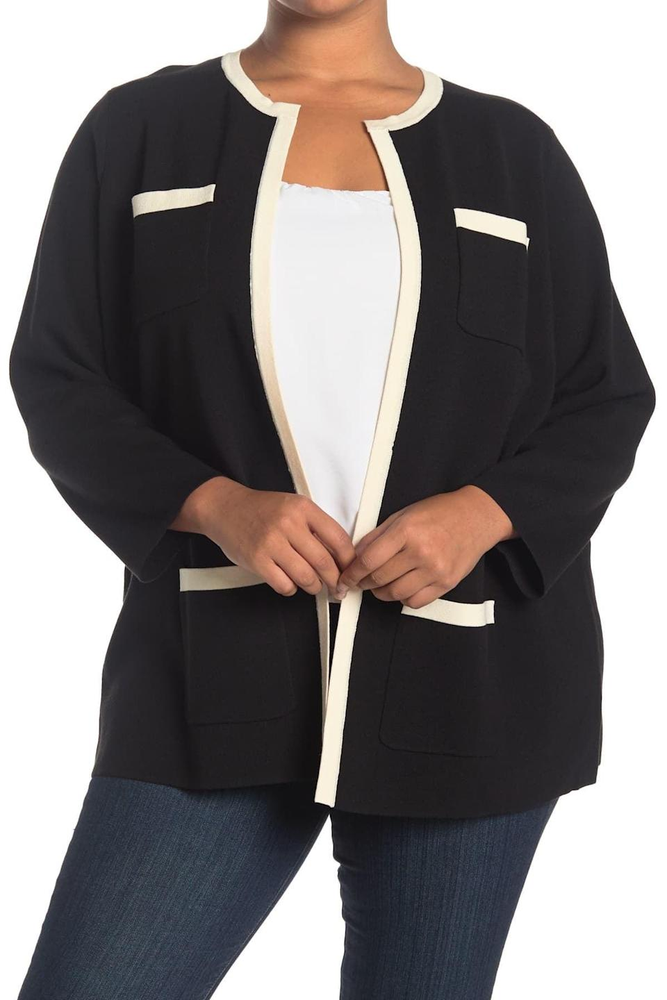 <p>This <span>Anne Klein Colorblock Cardigan</span> ($21, originally $139) will take you from the office to a chic date night.</p>