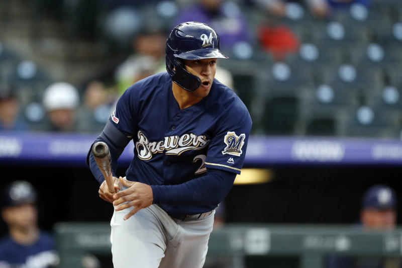 FILE - In this Sept. 27, 2019, file photo, Milwaukee Brewers center fielder Trent Grisham (2) in the first inning of a baseball game in Denver. The San Diego Padres have acquired right-handed pitcher Zach Davies and outfielder Trent Grisham from the Milwaukee Brewers in exchange for left-hander Eric Lauer, infielder Luis Urías and a player to be named later or cash considerations, the Padres announced Wednesday, Nov. 27, 2019. (AP Photo/David Zalubowski, File)