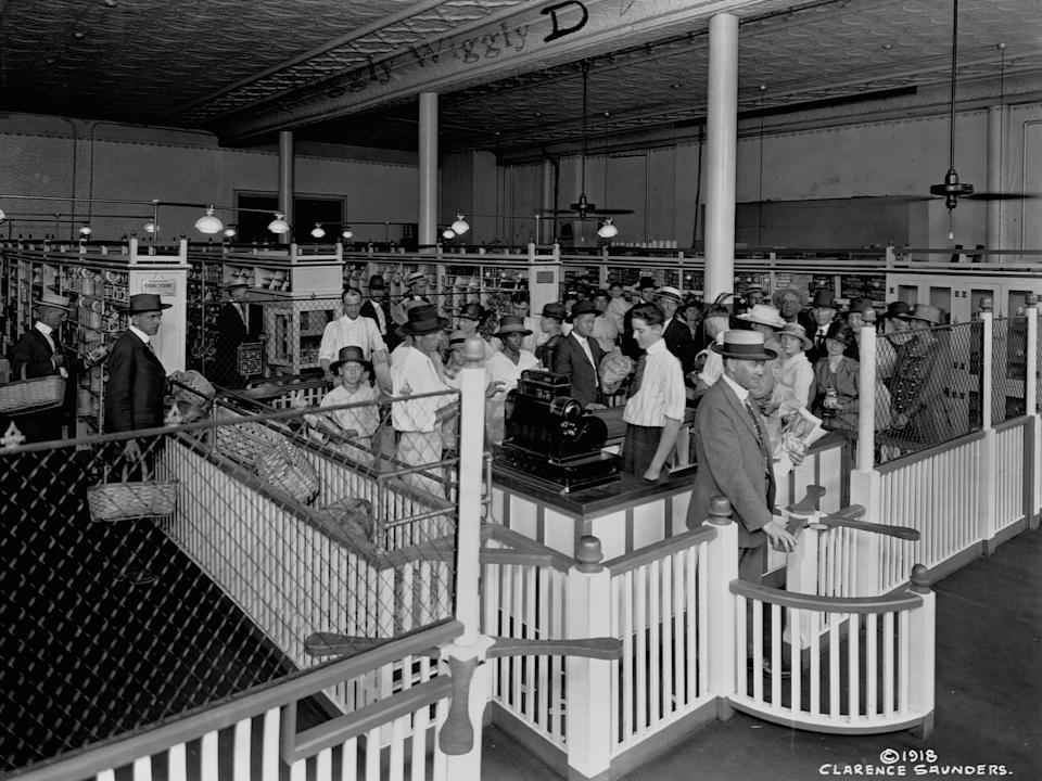 An archive image of a Piggly Wiggly store, circa 1918. The chain opened the first self-service supermarket in September 1916. (Getty Images)