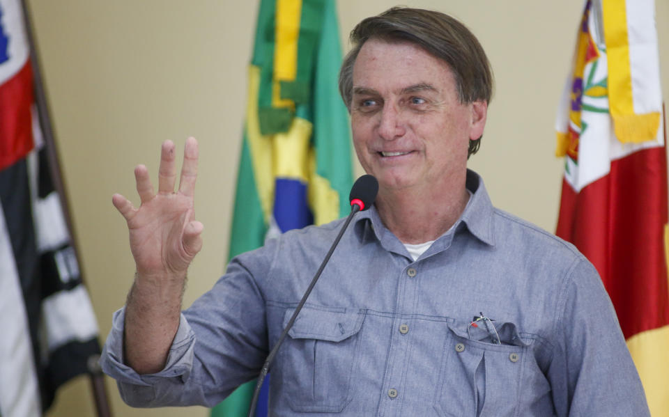 ELDORADO, BRAZIL - SEPTEMBER 03: Jair Bolsonaro, President of Brazil speaks during the presentation of a bridge development project over the Ribeira de Iguape river on September 3, 2020 in Eldorado, Brazil. Eldorado is a city in the countryside of the state of Sao Paulo where Jair Bolsonaro was raised. The bridge will provide access from the Boa Esperanca neighborhood to the Quilombo de Sao Pedro. (Photo by Miguel Schincariol/Getty Images)
