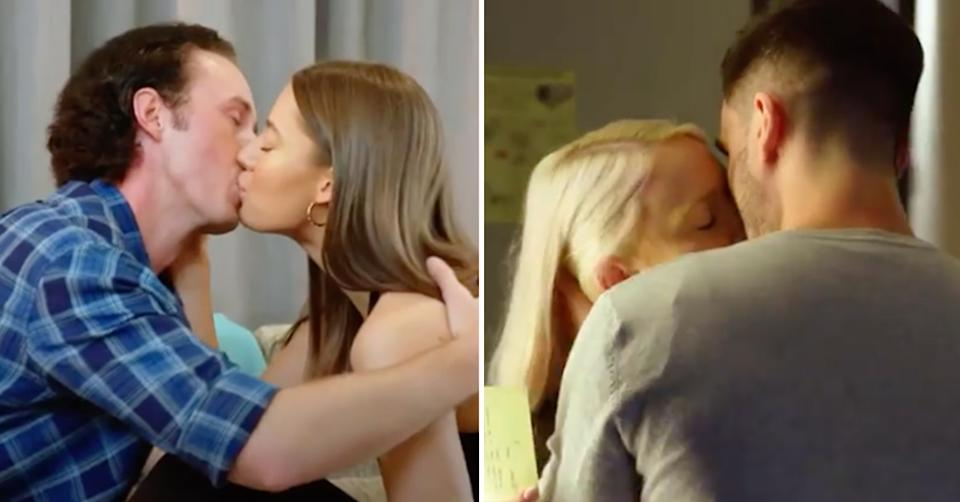 Beauty and the Geek 2021 couples James and Jess Kiran and Bryanna kiss