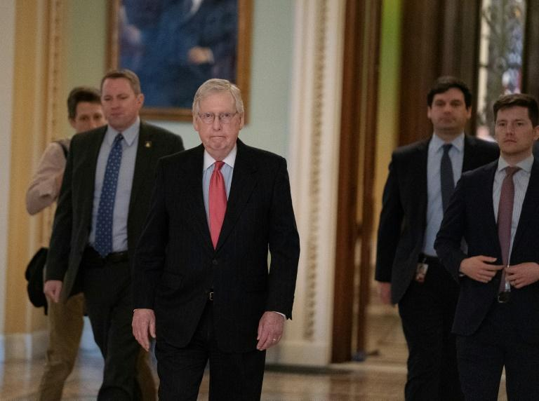"Senate Majority Leader Mitch McConnell called the $2 trillion package needed because the US is on ""wartime footing"" (AFP Photo/Alex Edelman)"