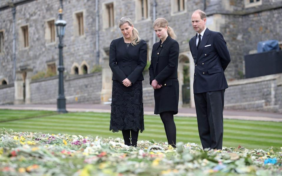 The Countess of Wessex, Lady Louise and the Earl of Wessex outside St George's Chapel - Steve Parsons/PA