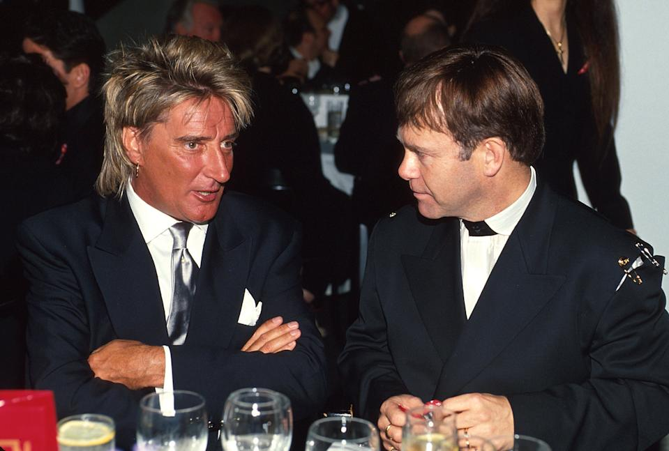 Rod Stewart and Elton John during 65th Annual Academy Awards - Elton John AIDS Foundation Party in Los Angeles, California, United States. (Photo by KMazur/WireImage)