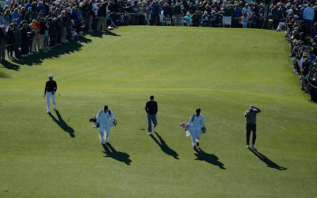 <span>The scene at the first tee at Augusta</span> <span>Credit: Reuters </span>