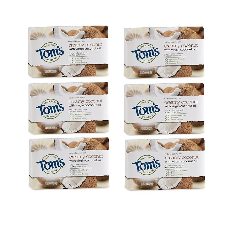 Tom's of Maine Natural Beauty Bar Soap in Creamy Coconut with Virgin Coconut Oil, best natural bar soaps