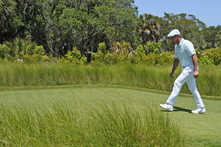 Bryson DeChambeau walks to the second tee during the second round of the PGA Championship golf tournament on the Ocean Course Friday, May 21, 2021, in Kiawah Island, S.C. (AP Photo/Matt York)