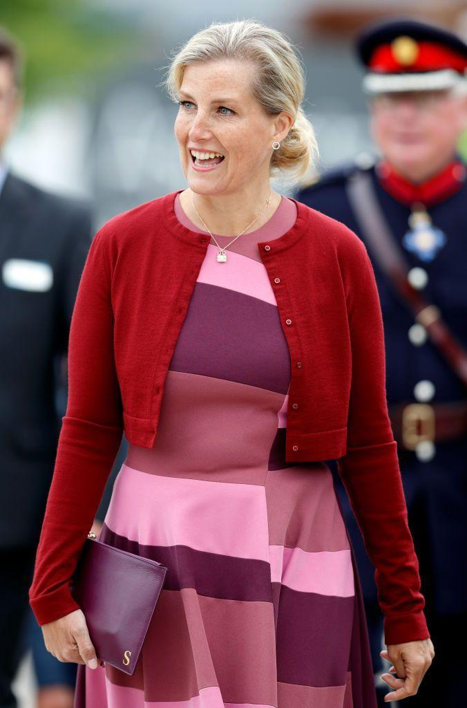 <p>Multiple shades of pink give this pink dress on Sophie, Countess of Wessex some edge.<br></p>