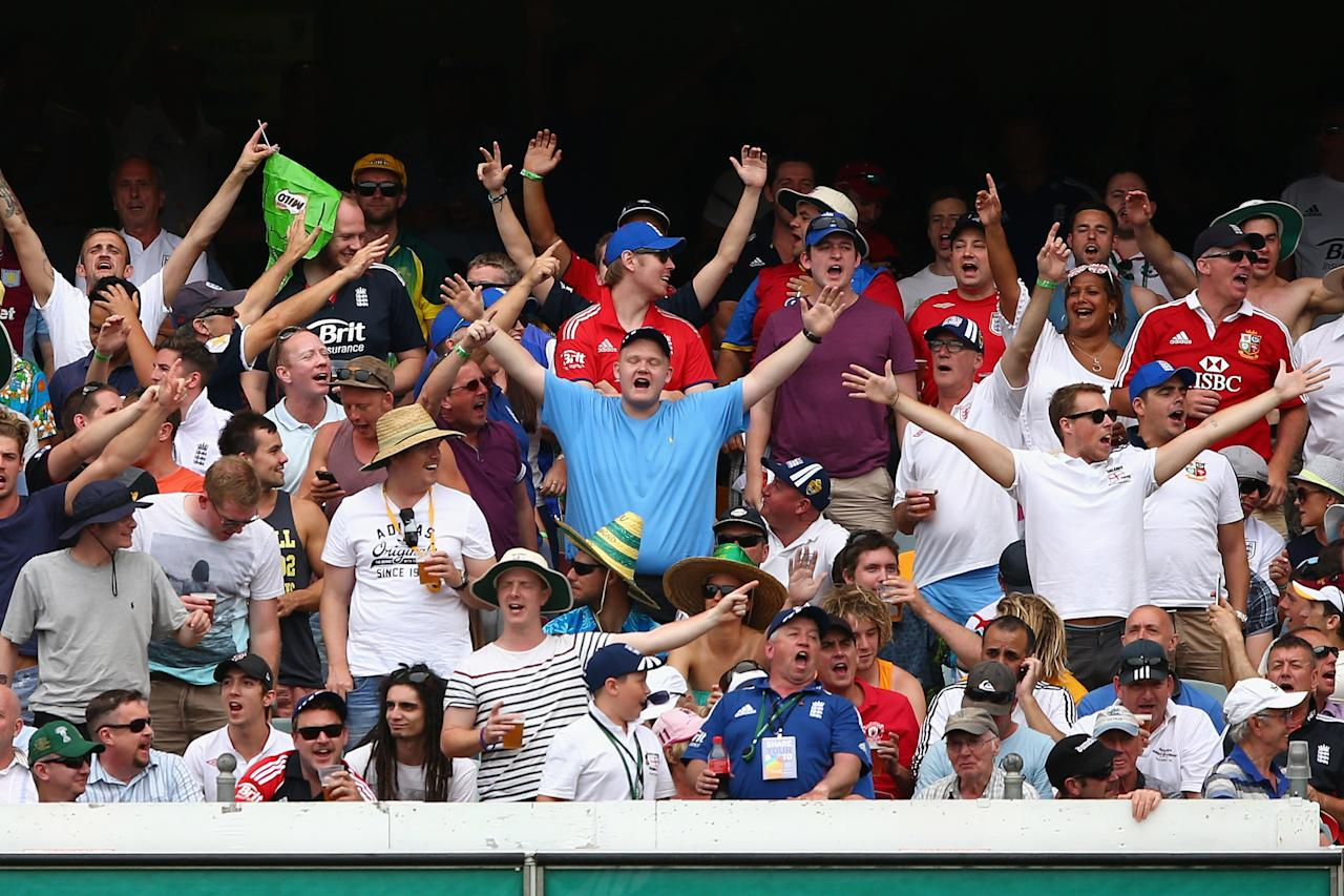 BRISBANE, AUSTRALIA - NOVEMBER 22: The Barmy Army sing during day two of the First Ashes Test match between Australia and England at The Gabba on November 22, 2013 in Brisbane, Australia.  (Photo by Cameron Spencer/Getty Images)