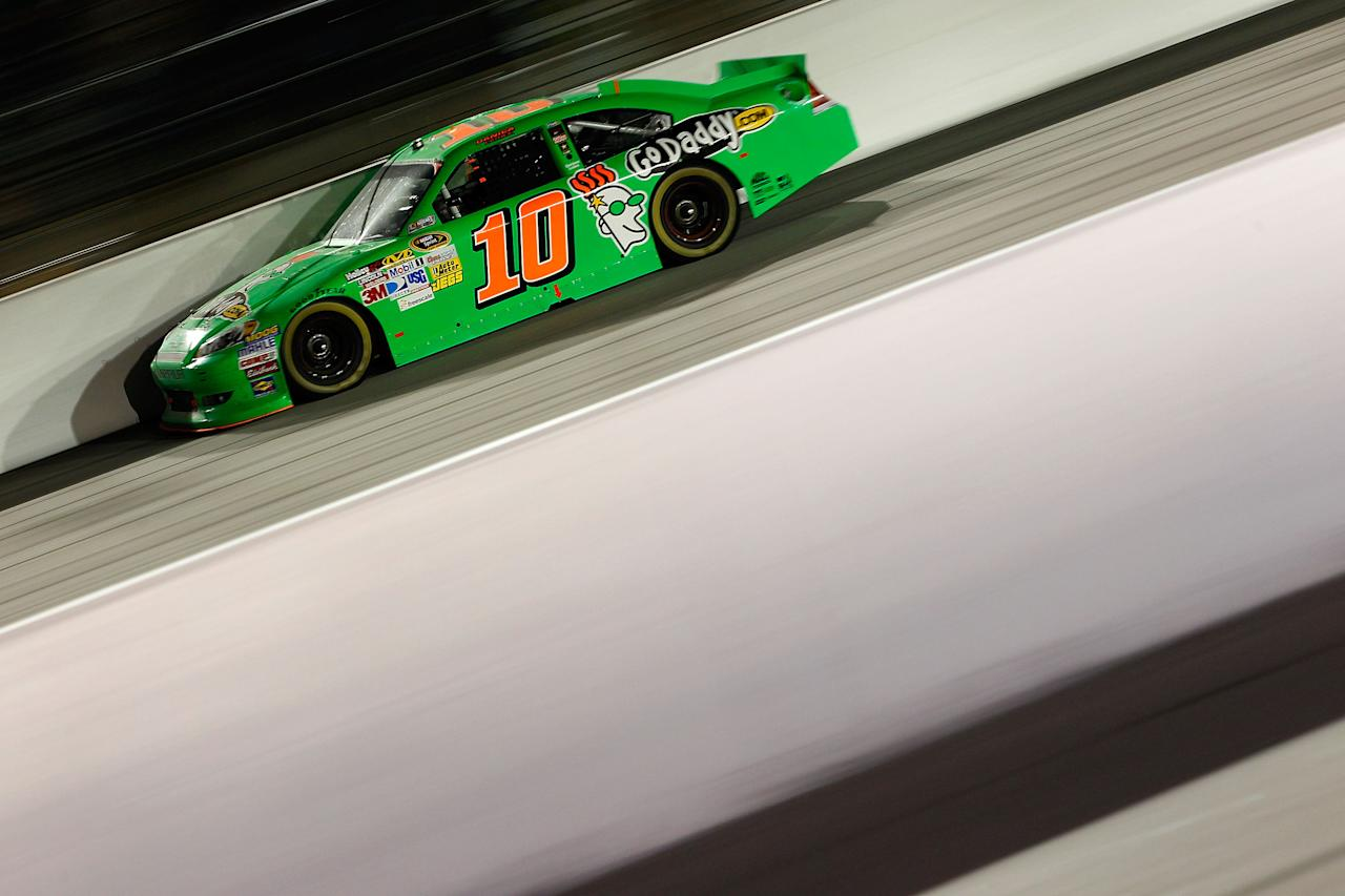 DARLINGTON, SC - MAY 12:  Danica Patrick, driver of the #10 GoDaddy.com Chevrolet, races during the NASCAR Sprint Cup Series Bojangles' Southern 500 at Darlington Raceway on May 12, 2012 in Darlington, South Carolina.  (Photo by Geoff Burke/Getty Images for NASCAR)