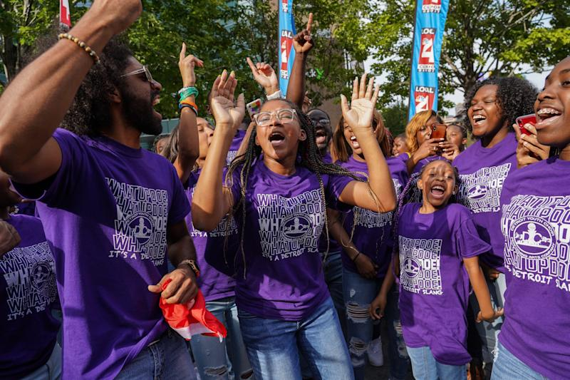 Members of the Detroit Youth Choir celebrate before leaving their homecoming celebration at Campus Martius in downtown Detroit on Friday, September 20, 2019 after they finished second place in