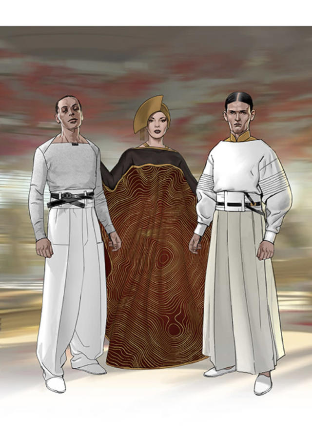 <p>The well-heeled patrons of crime lord Dryden Vos model the universe's finest threads, as depicted by costume concept artist Adam Brockbank.<br> (Image courtesy of Abrams Books/Lucasfilm Ltd.) </p>