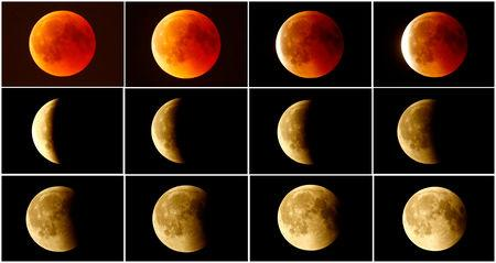 FILE PHOTO: A combination photo shows the lunar eclipse from a blood moon (top L)  back to full moon (bottom right) in the sky over Frankfurt, Germany, July 27, 2018. REUTERS/Kai Pfaffenbach/File Photo