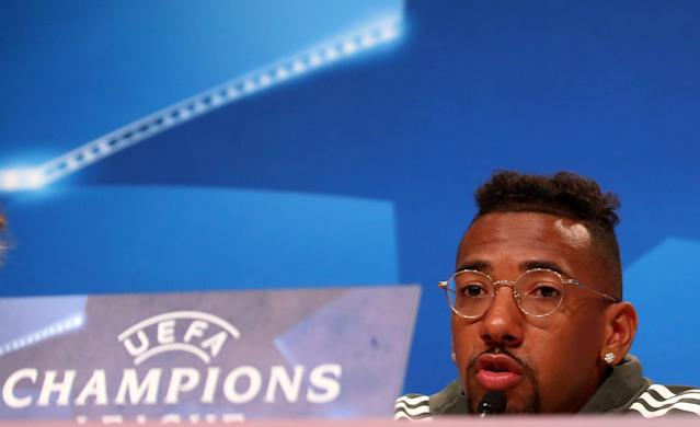 Soccer Football - Champions League - Bayern Munich Press Conference - Allianz Arena, Munich, Germany - April 24, 2018 Bayern Munich's Jerome Boateng during the press conference REUTERS/Michael Dalder