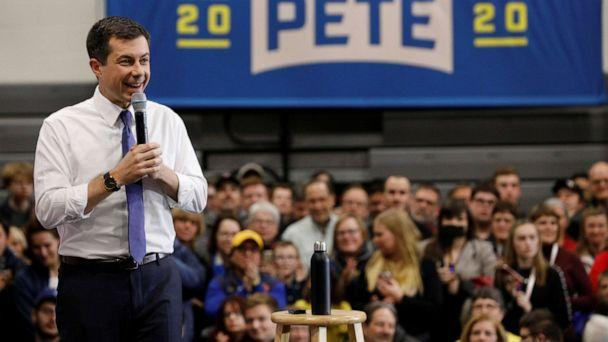 PHOTO: Democratic 2020 U.S. presidential candidate Pete Buttigieg speaks at a campaign town hall event at Salem High School in Salem, N.H., Feb. 9, 2020. (Jim Bourg/Reuters)