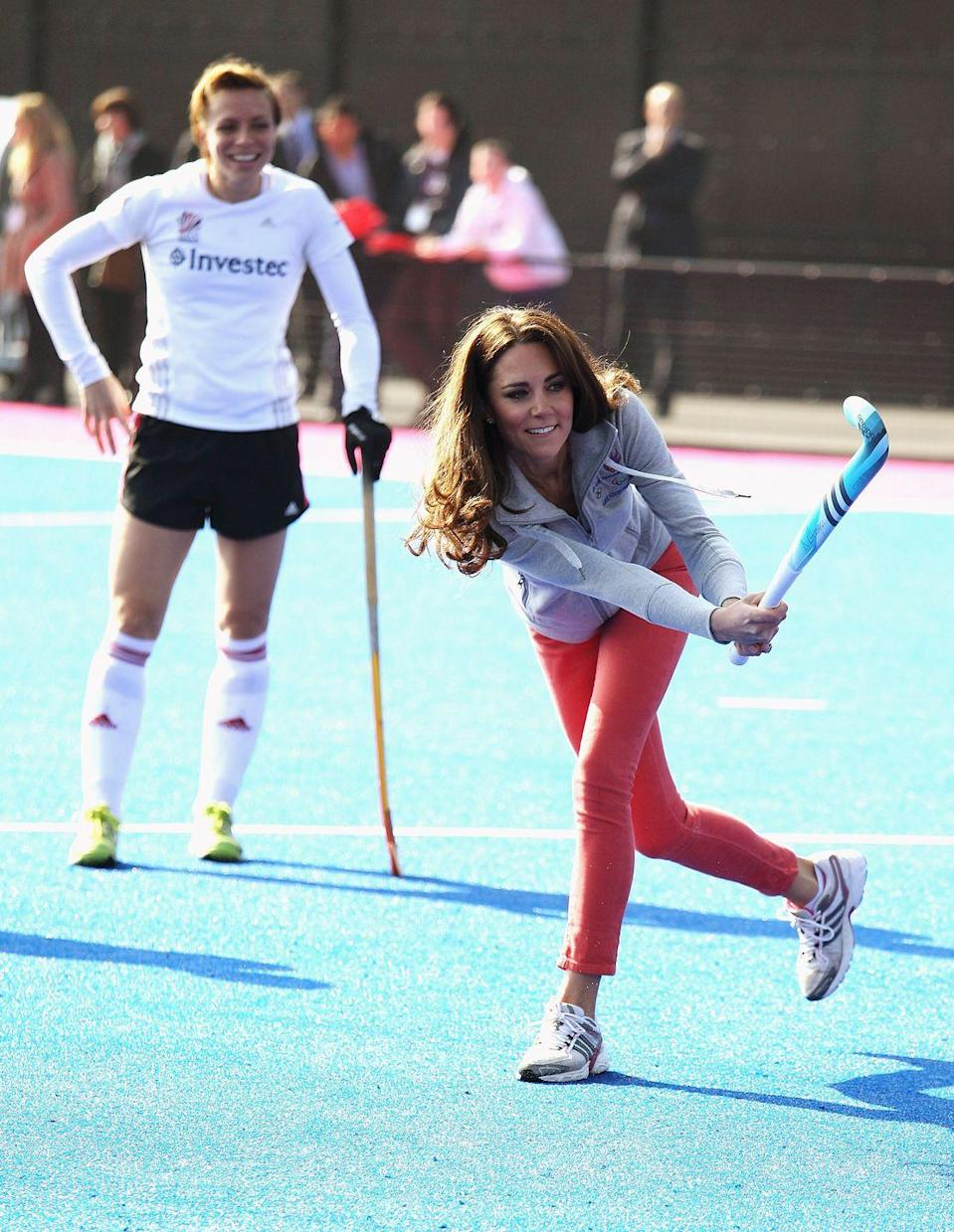 """<p>Before she was the Duchess of Cambridge, Kate Middleton could be found competing on the field hockey field. The Duchess not only played during her time at boarding school, but <a href=""""https://www.closerweekly.com/posts/what-was-kate-middleton-like-in-college-155741/"""" rel=""""nofollow noopener"""" target=""""_blank"""" data-ylk=""""slk:tried out a number of times"""" class=""""link rapid-noclick-resp"""">tried out a number of times</a> for the team at the University of St. Andrews. </p>"""