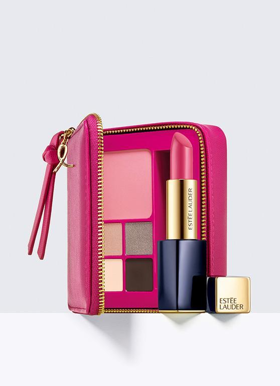"""<p><i><a rel=""""nofollow noopener"""" href=""""http://www.esteelauder.co.uk/product/9743/43044/landing-pages/the-evelyn-lauder-dream-collection/pink-perfection-color-collection/eye-lip-and-face-palette-20-of-retail-price-will-be-donated-to-the-breast-cancer-research-foundation-bcrf"""" target=""""_blank"""" data-ylk=""""slk:[Estée Lauder, £40]"""" class=""""link rapid-noclick-resp"""">[Estée Lauder, £40]</a></i></p>"""