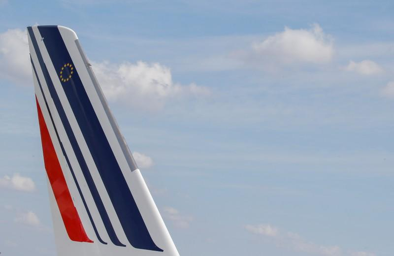Logo of Air France is pictured on the first Air France airliner's Airbus A350 as it prepares to take off after a ceremony at the aircraft builder's headquarters in Colomiers near Toulouse