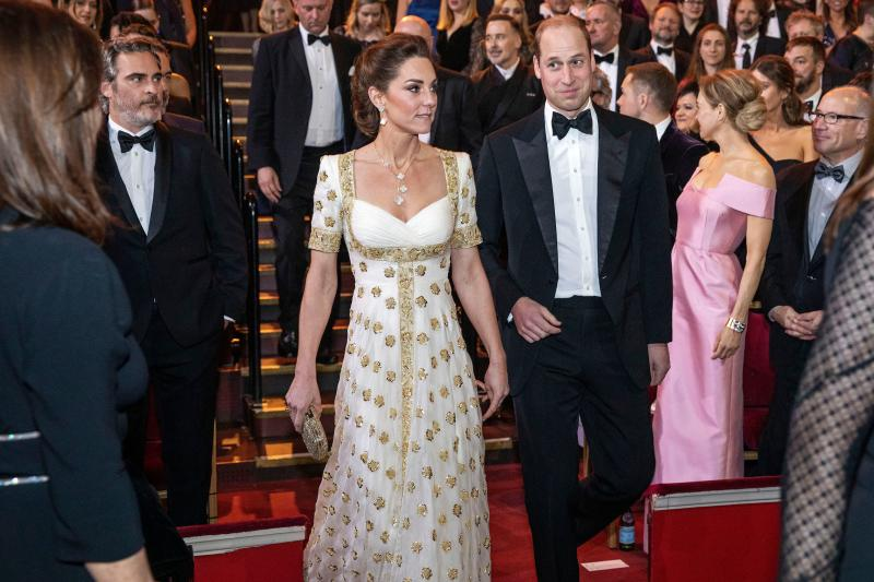 Britain's Prince William, Duke of Cambridge (centre right) and Britain's Catherine, Duchess of Cambridge (centre left) attend the BAFTA British Academy Film Awards at the Royal Albert Hall in London on February 2, 2020.