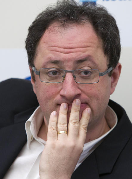 Boris Gelfand of Israel, listens to a question during a press conference after tie break match against World Chess champion Viswanathan Anand from India, at the FIDE World Chess Championship at Moscow's Tretyakovsky State Gallery, Russia, Wednesday, May 30, 2012. Gelfand lose the match. (AP Photo/Misha Japaridze)