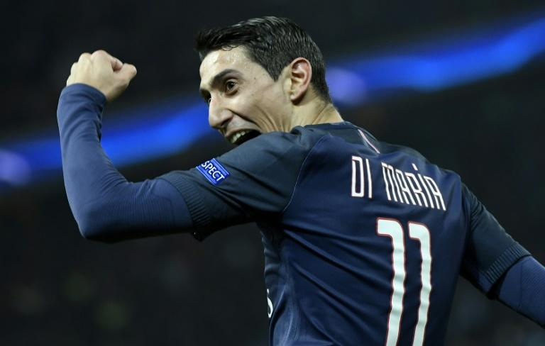 Paris Saint-Germain forward Angel Di Maria celebrates after scoring against Barcelona in the Champions League last 16 on February 14, 2017