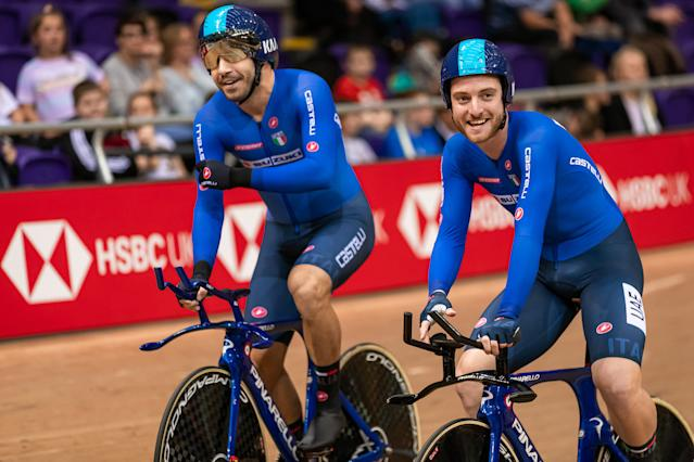Simone Consonni and Francesco Lamon of Italy after the men's team pursuit