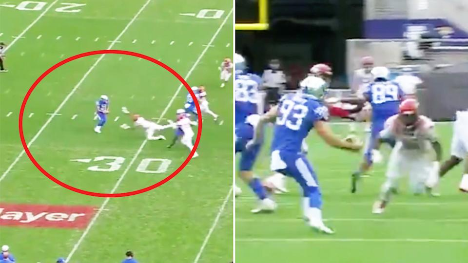 Max Duffy (pictured left) attempting to punt the ball for Kentucky and (pictured right) faking a kick.