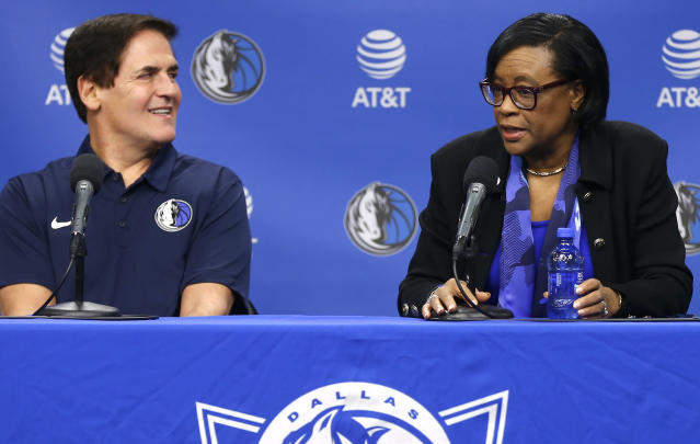 Mark Cuban hired Cynthia Marshall, a complete outsider, to be the face of the team's response to last week's report of sexual misconduct in the workplace. (AP)
