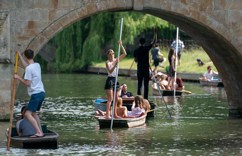 People enjoy punt tours along the River Cam in Cambridge. Wednesday could be the hottest day of the year so far as parts of the UK are set to bask in 30-degree heat. Picture date: Wednesday June 16, 2021.