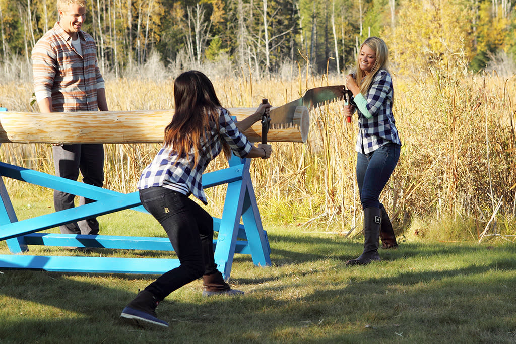 """""""Episode 1705"""" - Eight of the bachelorettes discover canoes, hay, a wood chopping station and goats at a local lake - uh-oh! They are once again split into two teams for a Montana relay race. The final part of the challenge will be milking a goat and chugging its milk! The winning team will be rewarded with extra time with Sean that night, while the losing team will head back to the hotel. One team finally squeaks by to win. But Sean makes a surprising decision when it comes to the losing team that is bound to upset the winners. And to make things more interesting, Tierra, upset that she will be on the two-on-one date, shows up at the after party, on """"The Bachelor."""""""