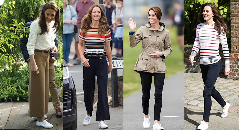 Kate Middleton has worn the Superga 2750 Cotu trainers for years. (Getty images)